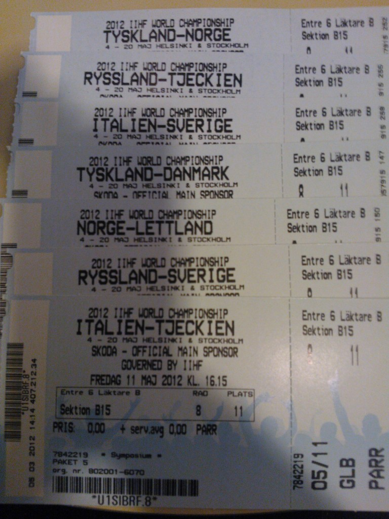 Game Tickets, IIHF Hockey World Championships