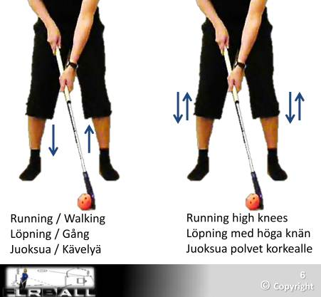 Stick handling floorball or ball control with foot work