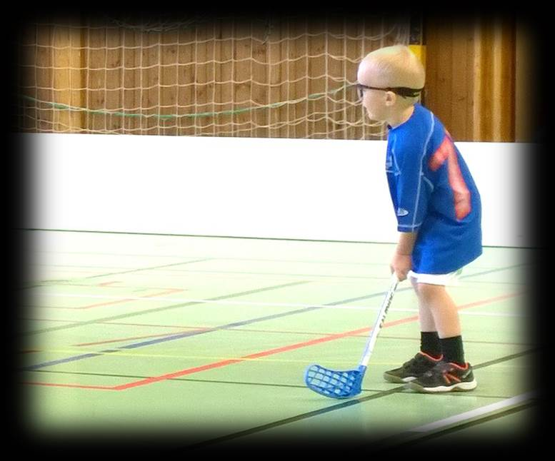 focused on floorball game, face off